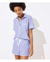 LOFT - Dotted Stripe Pajama Shorts - Lyst