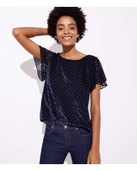 LOFT - Velvet Dot Flared Sleeve Top - Lyst
