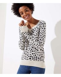 LOFT Petite Leopard Print V-neck Jumper - Multicolour