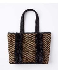 LOFT Fringed Straw Tote Bag - Black