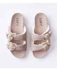 LOFT Faux Fur Lined Buckle Indoor & Outdoor Slippers - Multicolour