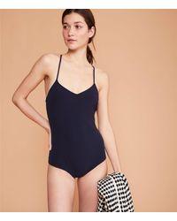 LOFT Pale Swimwear Costa One Piece Swimsuit - Blue