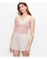 LOFT Floral Lace Trim Tank Top - Pink