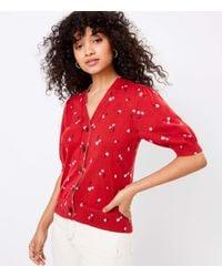 LOFT Cherry Puff Sleeve V-neck Cardigan - Red