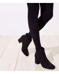 LOFT Studded Block Heel Ankle Boots - Black