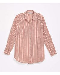 LOFT Lou & Grey Gingham Pocket Tunic Shirt - Red