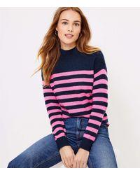 LOFT Petite Striped Shoulder Button Sweater - Blue