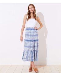 LOFT Paisley Tiered Midi Skirt - Blue