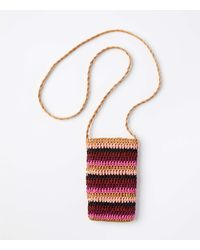 LOFT Striped Mini Straw Crossbody Bag - Multicolour