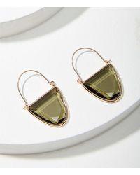 LOFT Jewelled Crescent Hoop Earrings - Black