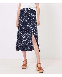 LOFT Brushstroke Slit Midi Skirt - Blue