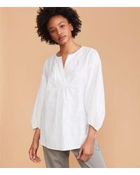 LOFT Lou & Grey Tunic Poet Blouse - White