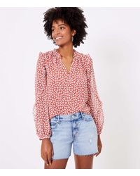 LOFT Floral Ruffle Sleeve Blouse - Red