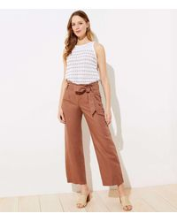 LOFT Petite Linen Blend Wide Leg Trousers - Brown