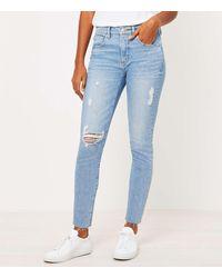 LOFT Petite Skinny Jeans In Vivid Light Indigo Wash - Blue