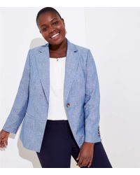 LOFT Plus Chambray Modern Blazer - Blue