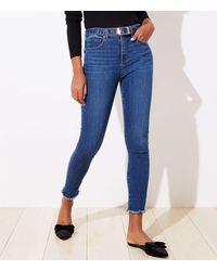 LOFT Let Down Hem Slim Pocket Skinny Jeans In Rich Dark Indigo - Blue