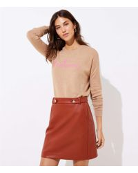 LOFT - Faux Leather Button Tab Skirt - Lyst
