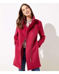 LOFT Petite Woolly Moto Coat - Red