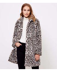LOFT Leopard Print Faux Fur Coat - Multicolour