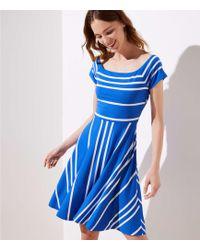 LOFT - Striped Crossover Back Flare Dress - Lyst