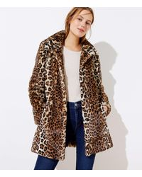 LOFT Leopard Print Faux Fur Funnel Neck Coat - Brown