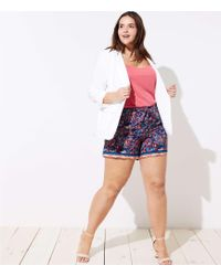 LOFT - Plus Paisley Tie Waist Shorts - Lyst