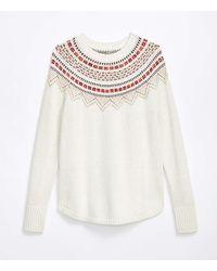 LOFT Fairisle Shirttail Sweater - White