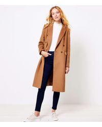 LOFT Petite Double Breasted Coat - Brown