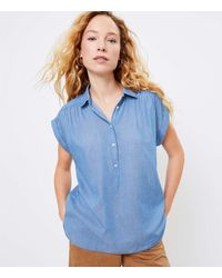 LOFT Chambray Dolman Henley Shirt - Blue