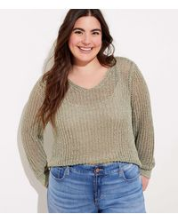 LOFT Plus Shimmer Cropped Sweater - Multicolor