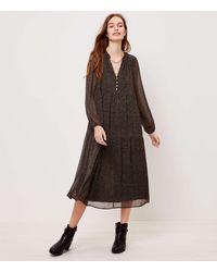 LOFT Petite Split Neck Tiered Midi Dress - Black