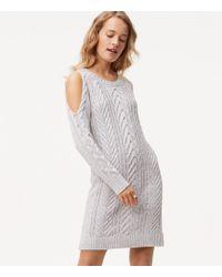 LOFT - Cable Cold Shoulder Sweater Dress - Lyst