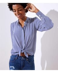 LOFT - Striped Crossover Back Utility Blouse - Lyst