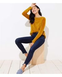 LOFT - Petite Modern Frayed Skinny Jeans In Dark Indigo Wash - Lyst