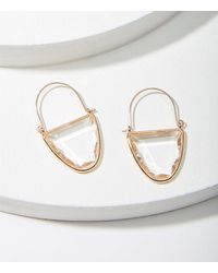 LOFT Jewelled Crescent Hoop Earrings - Metallic