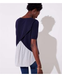 LOFT - Striped Crossover Mixed Media Sweater - Lyst