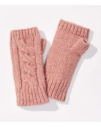LOFT Cable Fingerless Gloves - Pink