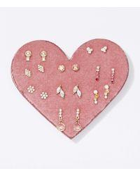 LOFT Heart Stud Earring Set - Metallic