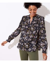 LOFT Floral Ruffle Split Neck Blouse - Black