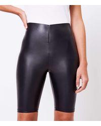 LOFT Sculpt Bike Shorts In Faux Leather - Black