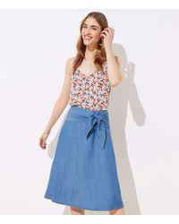 LOFT Chambray Tie Waist Midi Skirt - Blue