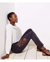 LOFT - Floral Embroidered Skinny Jeans In Black - Lyst