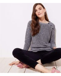 LOFT - Marled Shoulder Button Sweater - Lyst