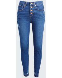 LOFT High Waist Skinny Crop Jeans In Staple Dark Indigo Wash - Blue