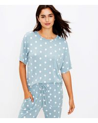 LOFT Polka Dot Pocket Pyjama Top - Blue