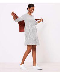 LOFT Striped Tiered Swing Dress - White