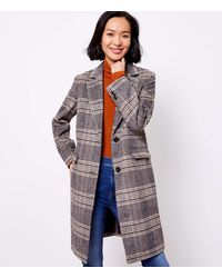 LOFT Plaid Coat - Gray