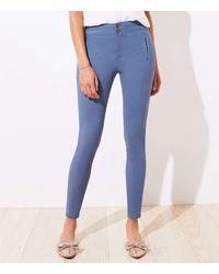 LOFT High Waist Skinny Sateen Trousers - Blue
