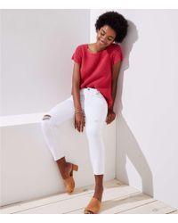 LOFT - Tall Modern Destructed Skinny Crop Jeans In White - Lyst